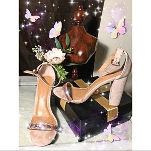 SPARKLY champagne & pink ankle strap heels BAMBOO